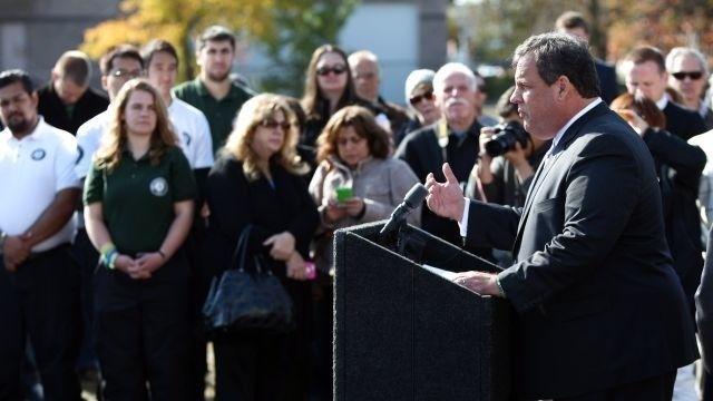 New Jersey Gov. Chris Christie helps many towns mark Sandy anniversary