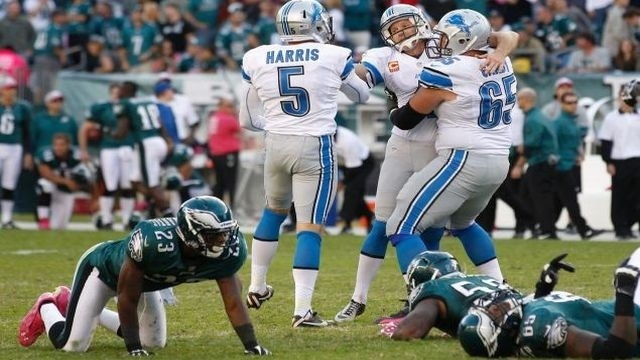 Eagles blow another lead, fall in OT to Lions, 26-23