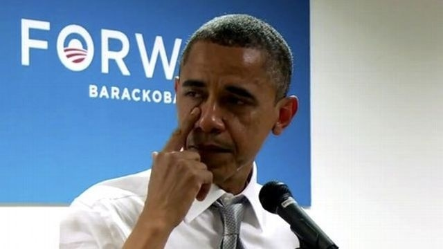 President Obama wipes away tears while thanking campaign staff