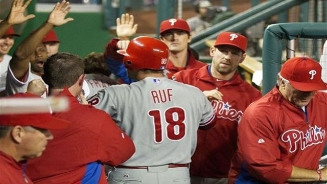 Ruf hits 2 homers for Phillies in 4-2 loss to Nats