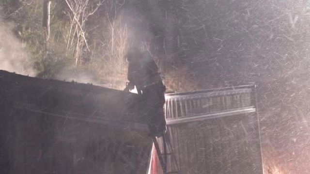 Tractor trailer catches fire on turnpike