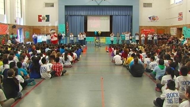 Pep rally gets Reading school students pumped for PSSA tests