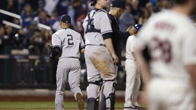 Jeter pulled early, Yankees hold off Mets 1-0