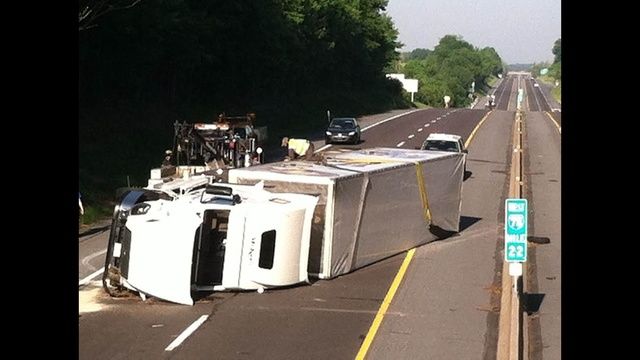 Tractor trailer rollover closes part of I-78 in Berks County