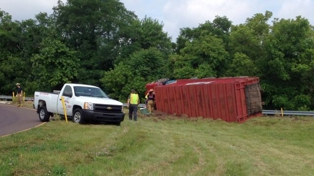 Truck rolls on Route 100 off-ramp in North Coventry; driver injured