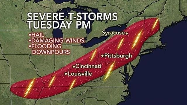 Strong storms may include damaging winds, downpours
