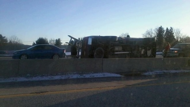 Accident on I-78 leaves one car rolled over