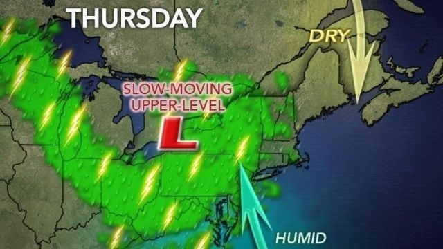 Showers, thunderstorms possible into early Friday