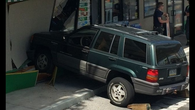 Vehicle plows into Allentown gas station