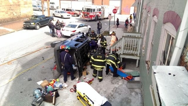 Reading residents breathe sigh of relief after overturned SUV narrowly misses homes