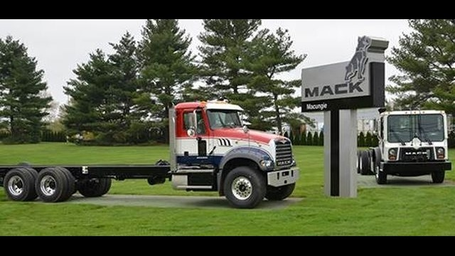 Mack unveils new logo on sign at Macungie plant