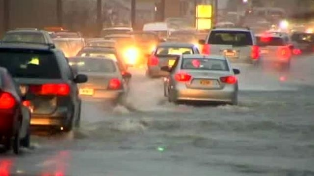 Heavy rains flood roads in the area