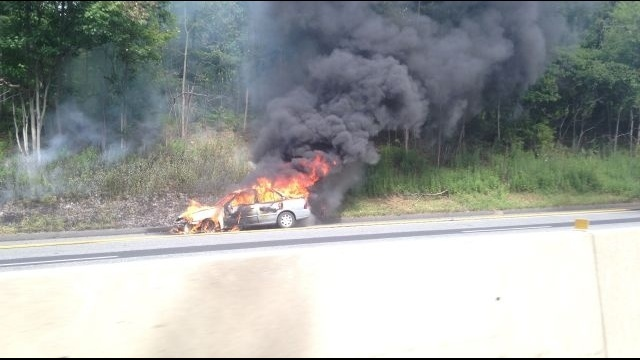 Fire guts car on Route 33 in Northampton County
