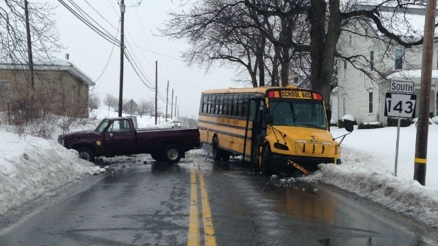 School bus, truck collide in Lynn Township