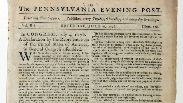 1st newspaper printing of historic document