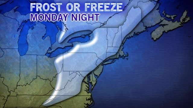 Chilly start to week, freeze warning for Poconos Monday night