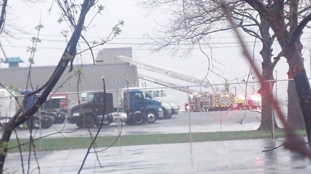 Mack Trucks evacuated after truck catches fire near the building