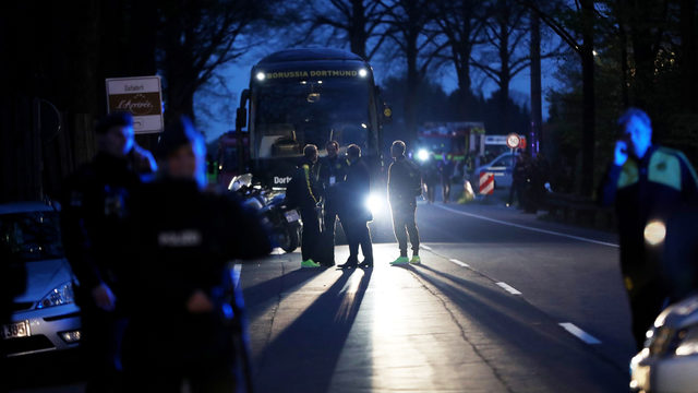 American star safe after bomb attack on German soccer team's bus