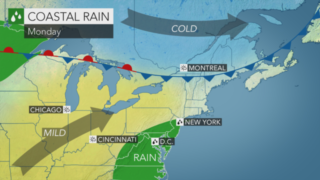 Mostly cloudy with a touch of rain today; rain continues through early Wednesday