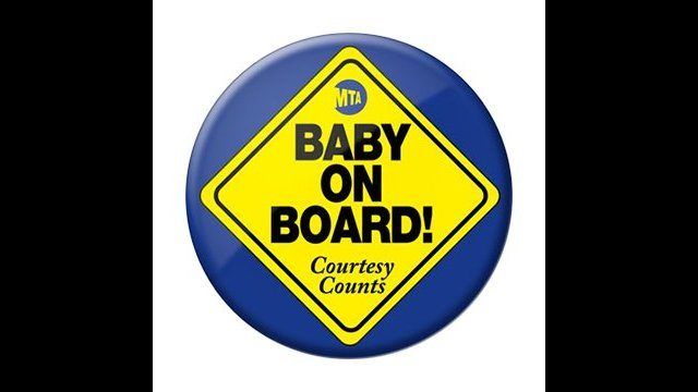 Baby on Board badge not just for cars in New York