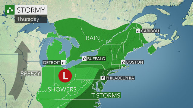 Cooler with occasional rain and a t-storm on Thursday