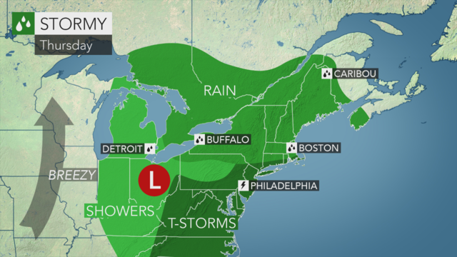 Cooler with occasional rain and a t-storm today