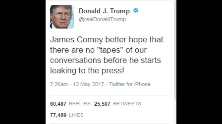 Trump tweet appears to confirm investigation
