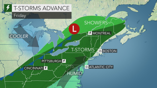 Muggy and unsettled with showers and a t-storm today