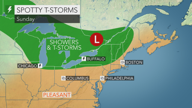 Mostly sunny and seasonable today with low humidity; a brief shower in spots