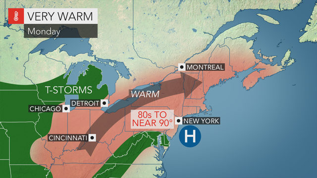 Warm and humid, possible PM storm Monday